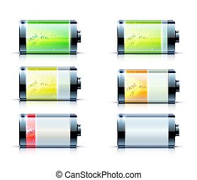battery level indicators - illustration of detailed glossy...