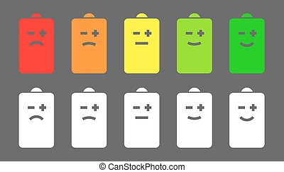 Battery level smiley icons