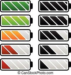 Battery life, battery level indicators. Battery vectors.      Battery life, battery level indicators. Battery vectors.