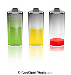 Battery Life Icon Set Isolated on White Background