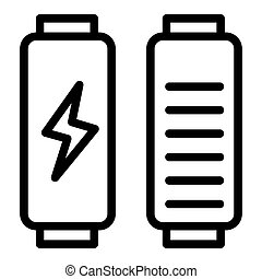 Battery load line icon. Full charge vector illustration isolated on white. Energy outline style design, designed for web and app. Eps 10.