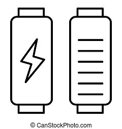 Battery load thin line icon. Full charge vector illustration isolated on white. Energy outline style design, designed for web and app. Eps 10.
