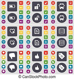 Battery, Lock, Bus, Heart, Text file, Database, Dislike, Like, Tag icon symbol. A large set of flat, colored buttons for your design. Vector