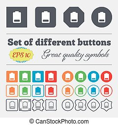 Battery low level, Electricity icon sign. Big set of colorful, diverse, high-quality buttons. Vector