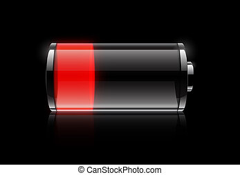 Battery low - Low battery icon on black background