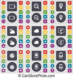 Battery, Magnifying glass, Checkpoint, Cloud, Monitor, Pizza, Mobile phone, Train icon symbol. A large set of flat, colored buttons for your design. Vector