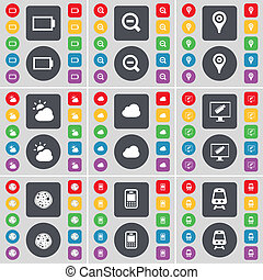Battery, Magnifying glass, Checkpoint, Cloud, Monitor, Pizza, Mobile phone, Train icon symbol. A large set of flat, colored buttons for your design.