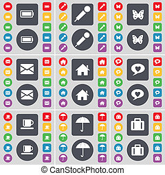 Battery, Microphone, Butterfly, Message, House, Chat bubble, Cup icon symbol. A large set of flat, colored buttons for your design.
