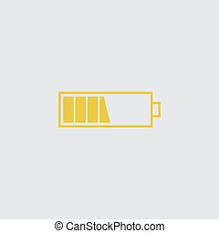 Battery middle icon. Yellow isolated symbol on a white. Jpeg
