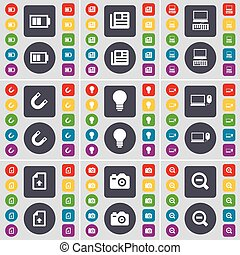 Battery, Newspaper, Laptop, Magnet, Lgiht bulb, Laptop, Upload file, Camera, Magnifying glass icon symbol. A large set of flat, colored buttons for your design. Vector
