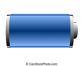 battery of blue color on a white background