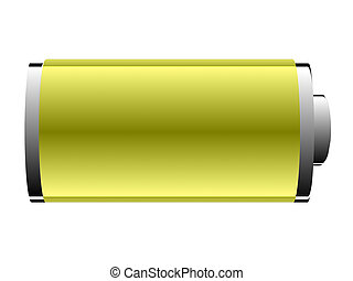 battery of yellow on a white background
