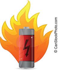 battery on fire illustration design