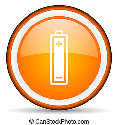 battery orange glossy circle icon on white background