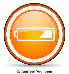battery orange glossy icon on white background