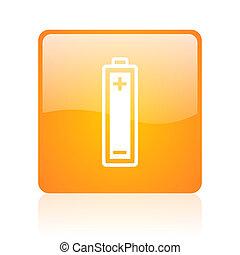 battery orange square glossy web icon