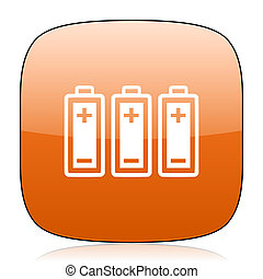 battery orange square web design glossy icon