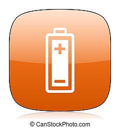 battery orange square web design glossy icon