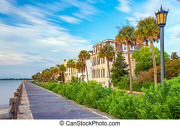 Battery Park in the historic waterfront area of Charleston, South Carolina, USA