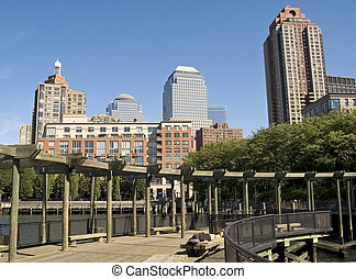 Battery Park View - This is shot of the apartment buildings ...