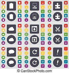 Battery, PC, Puzzle part, Cloud, Window, Airplane, Chat bubble, Reload, Exclamation mark icon symbol. A large set of flat, colored buttons for your design. Vector