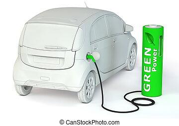 alternative energy green power - a green battery as a fuel pump fuels an E-Car