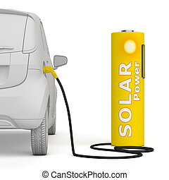 Battery Petrol Station - Solar Power fuels an E-Car