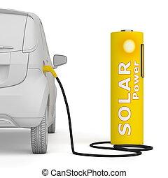 Battery Petrol Station - Solar Power fuels an E-Car -...