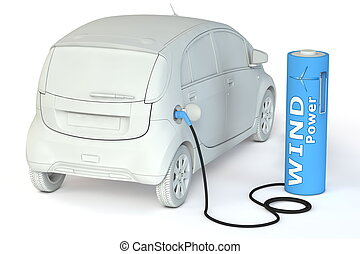 Battery Petrol Station - Wind Power fuels an E-Car