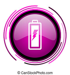 Battery pink glossy web icon isolated on white background