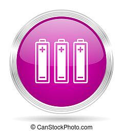 battery pink modern web design glossy circle icon