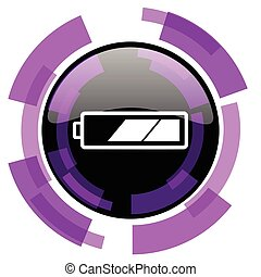 Battery pink violet modern design vector web and smartphone icon. Round button in eps 10 isolated on white background.