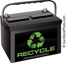 Battery Recycle - Illustration of a car or automobile...