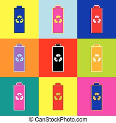Battery recycle sign illustration. Vector. Pop-art style colorful icons set with 3 colors.