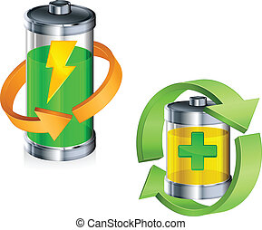 Battery recycling concept on white