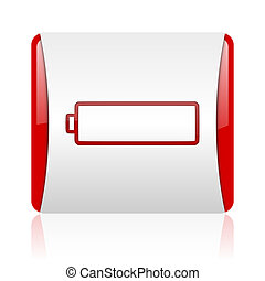 battery red and white square web glossy icon