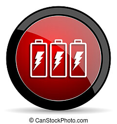 battery red circle glossy web icon on white background - set440