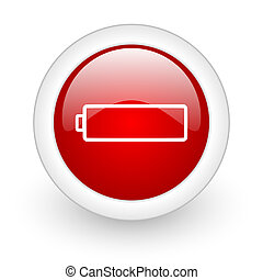 battery red circle glossy web icon on white background