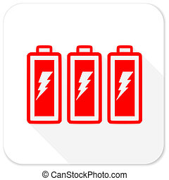 battery red flat icon with long shadow on white background