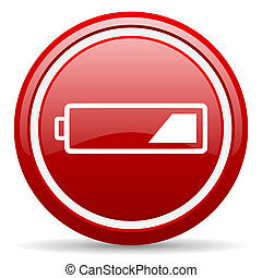 battery red glossy icon on white background