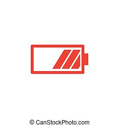 Battery Red Icon On White Background. Red Flat Style Vector Illustration.