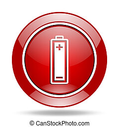 battery red web glossy round icon
