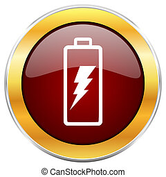 Battery red web icon with golden border isolated on white background. Round glossy button.