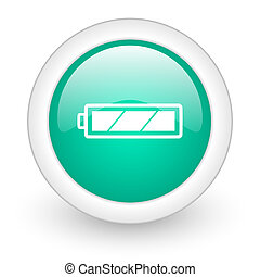 battery round glossy web icon on white background