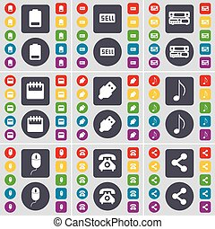Battery, Sell, Record-player, Calendar, USB, Note, Mouse, Retro phone, Share icon symbol. A large set of flat, colored buttons for your design. Vector