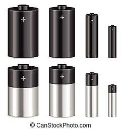 battery set - Battery set on a white background. Vector ...