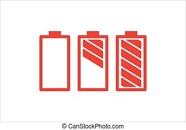 Battery Set Red Color On White Background. Red Flat Style Vector Illustration.