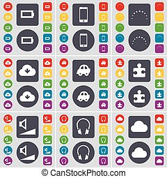 Battery, Smartphone, Stars, Cloud, Car, Puzzle part, Volume, Headphones icon symbol. A large set of flat, colored buttons for your design. Vector