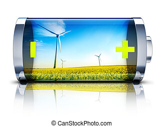 battery - high resolution rendering of a green energy...