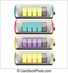 Battery Symbol Color Collection Set Vector